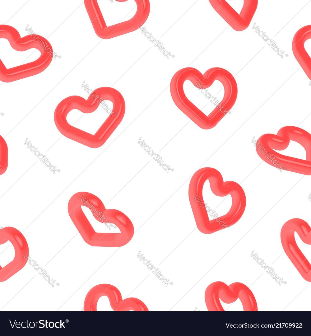 Heart shape 3d symbol seamless pattern for love