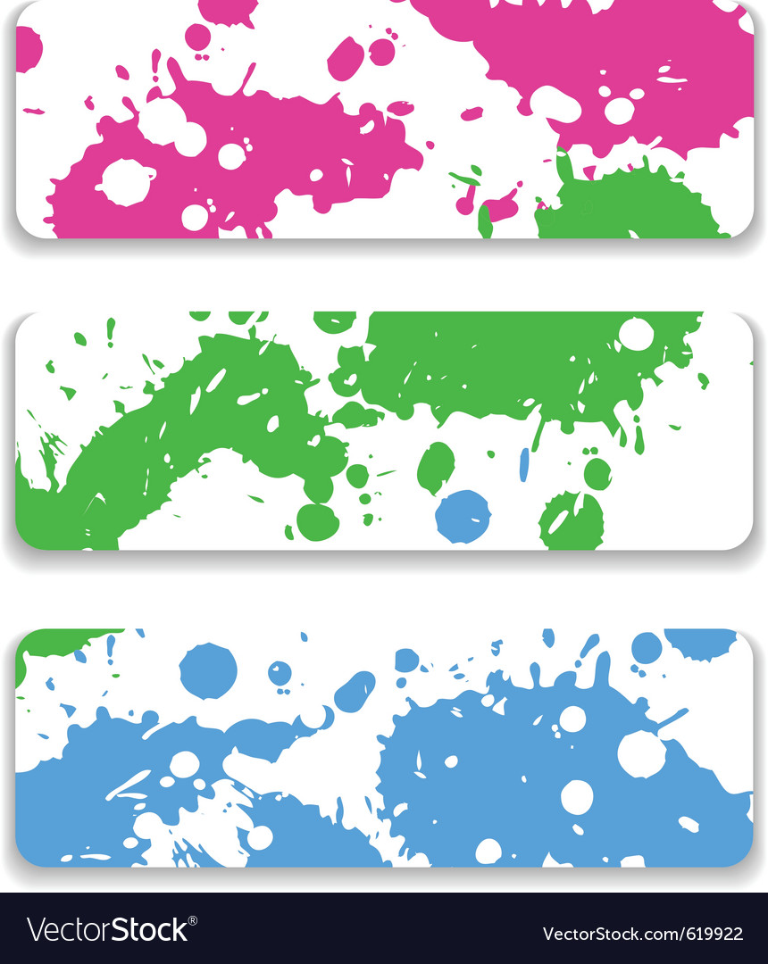 Ink splash banner set vector image