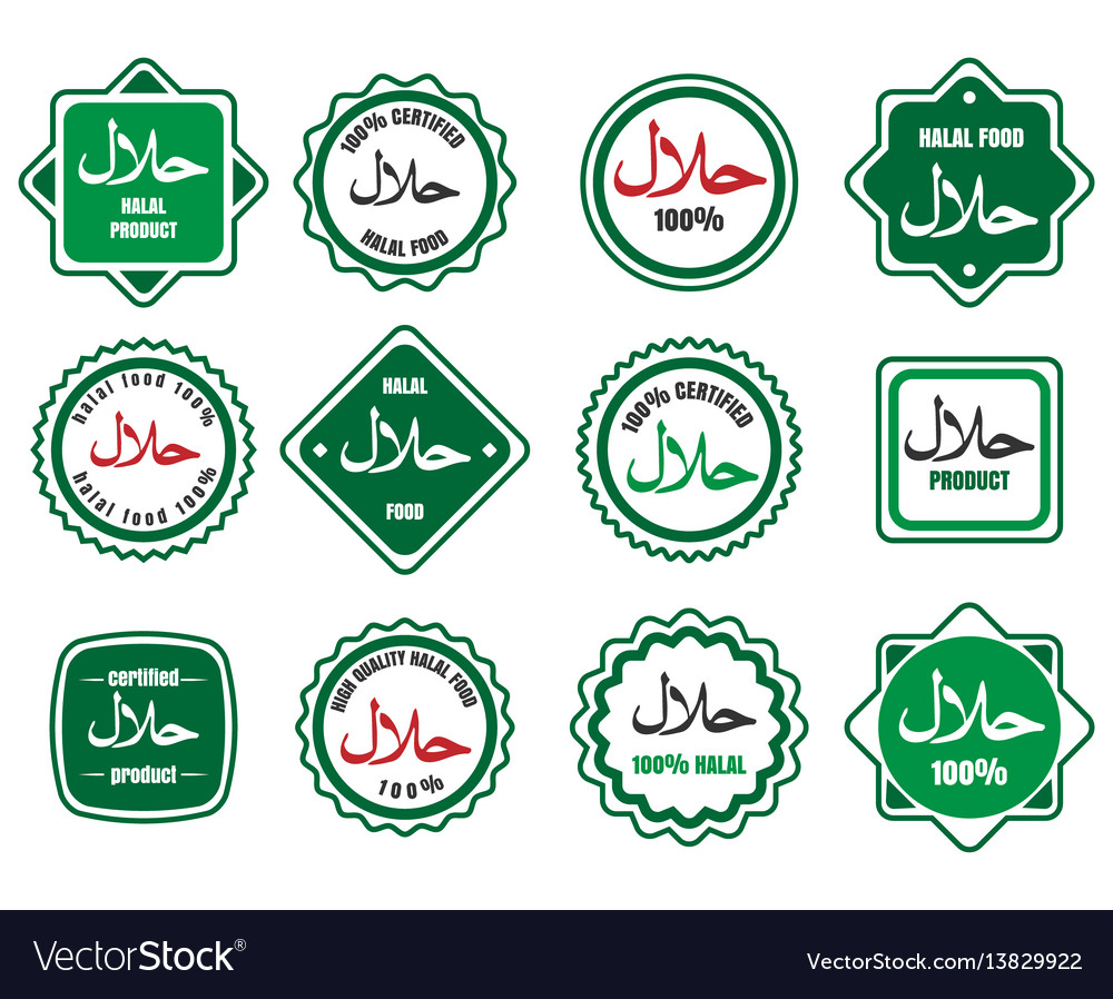 Islamic Kosher Certified Meal Emblems Royalty Free Vector