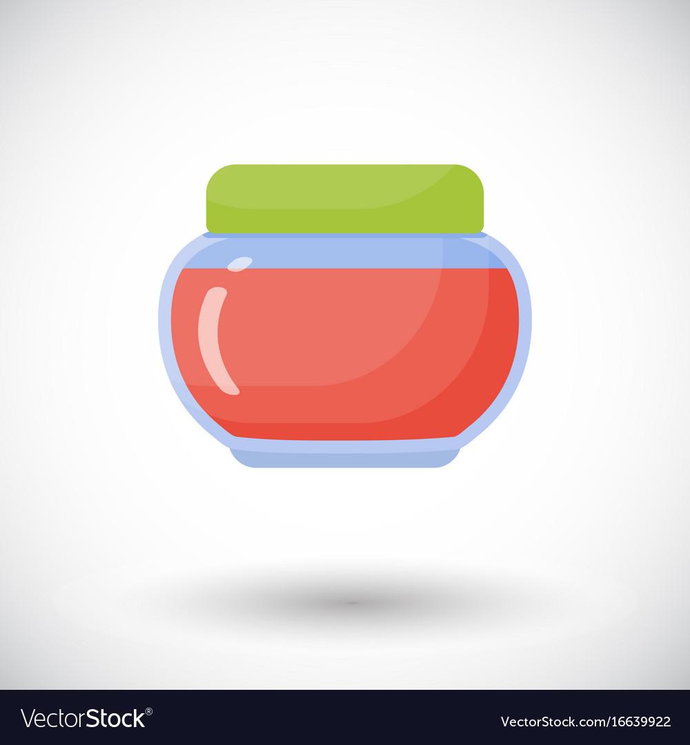 Jam in jar flat icon