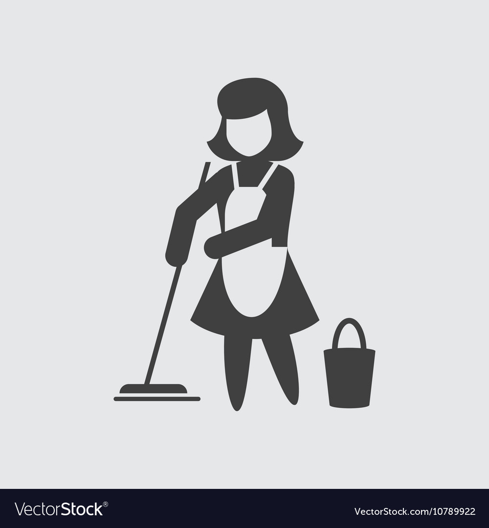 Maid cleaning icon