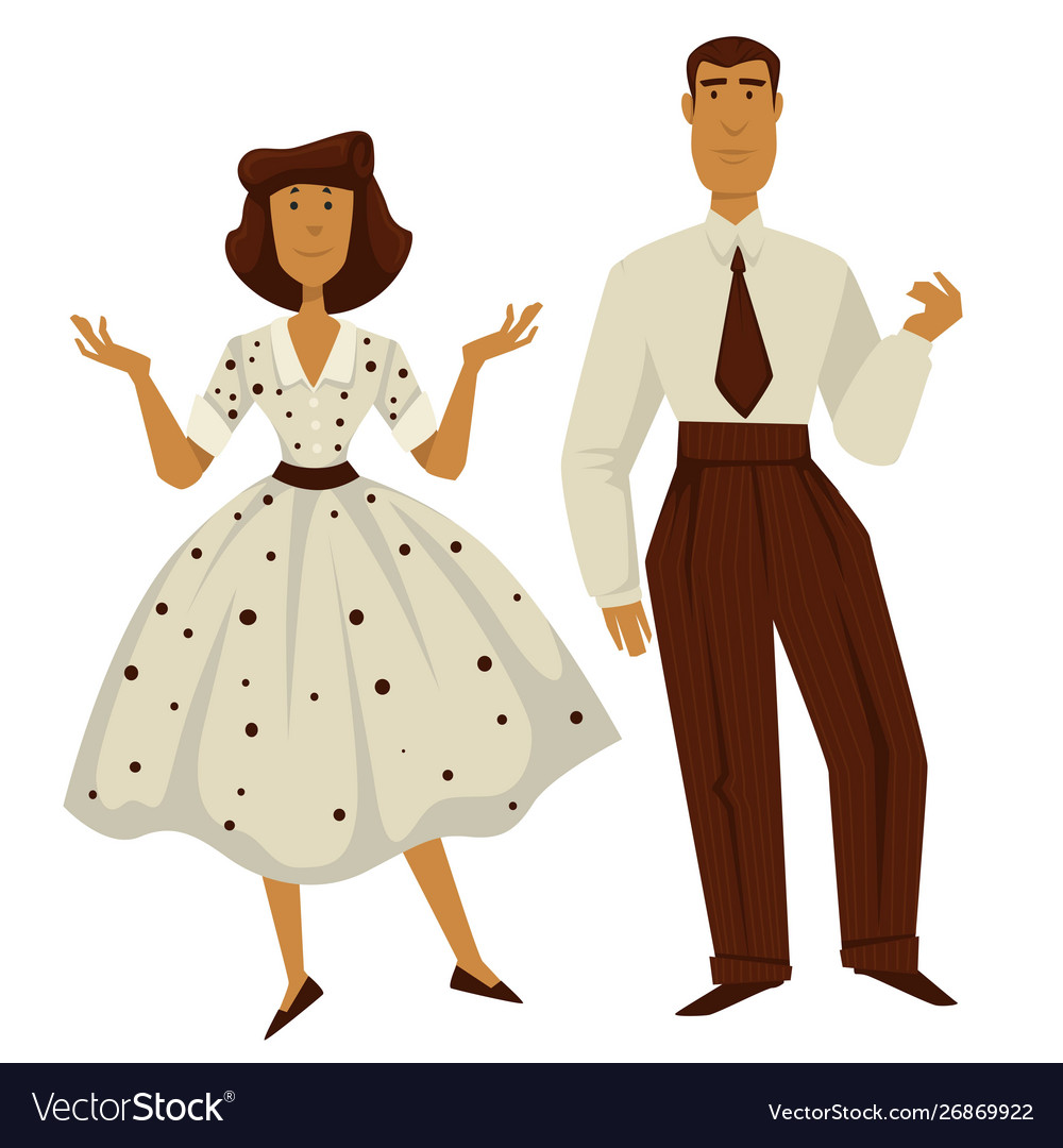 Man and woman in vintage 1950s style clothes