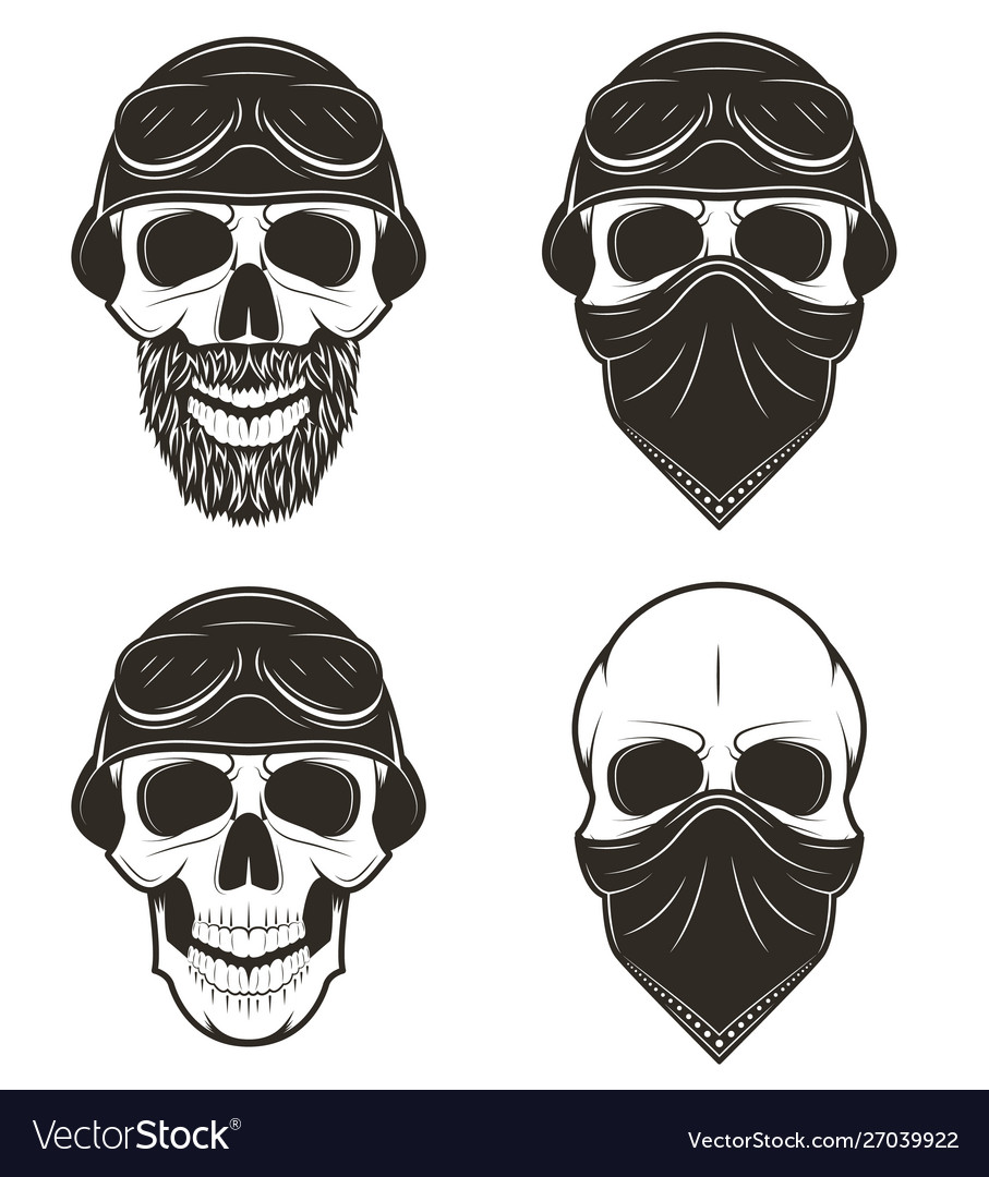 Motorcycle skull set hand drawn