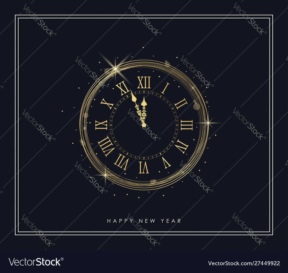 New year gold clock with shiny lights and golden
