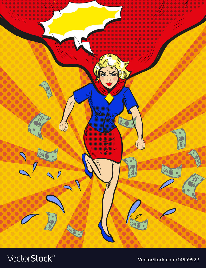 Pop art of woman in red cape