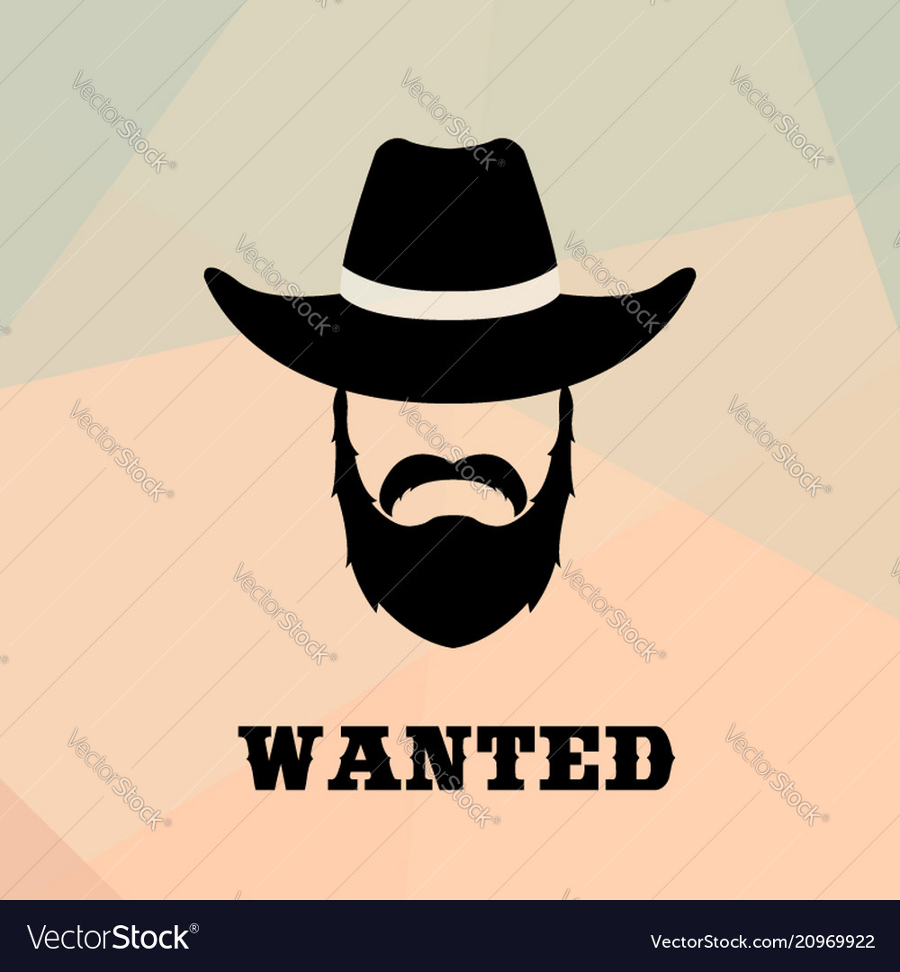Poster wanted with bandit portrait people icon