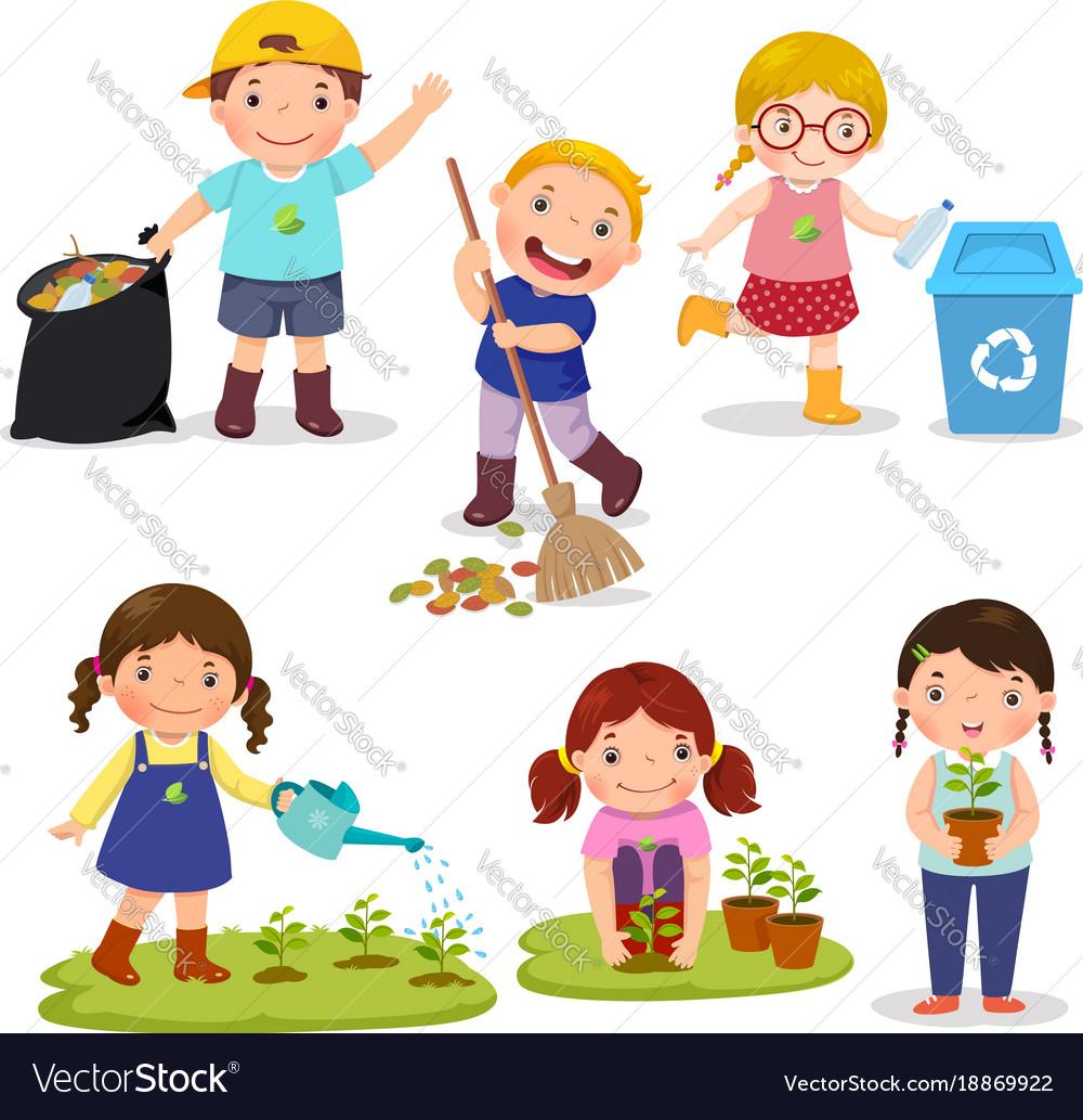 Set of cute kids volunteers