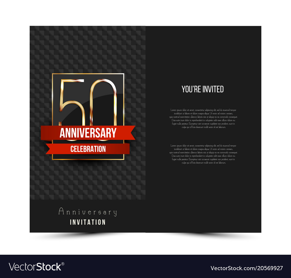 50th anniversary invitation card template vector image stopboris Image collections