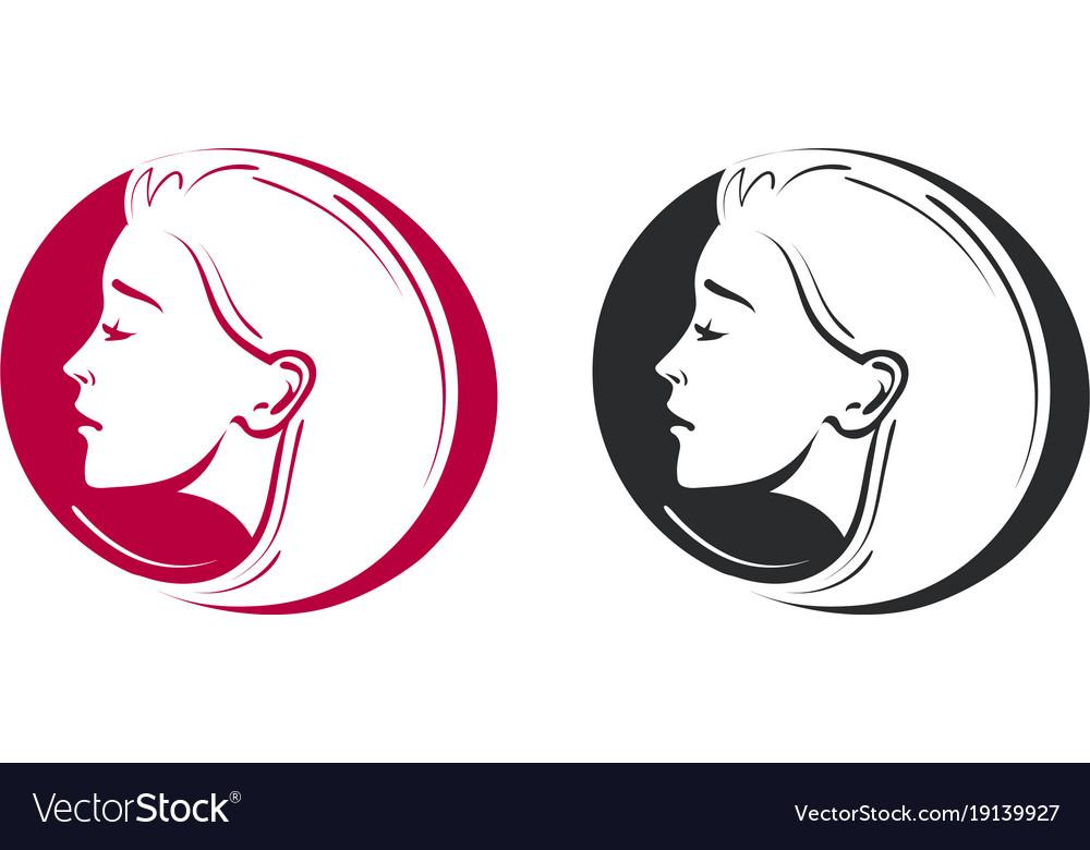 Beauty shop salon barbershop logo portrait of