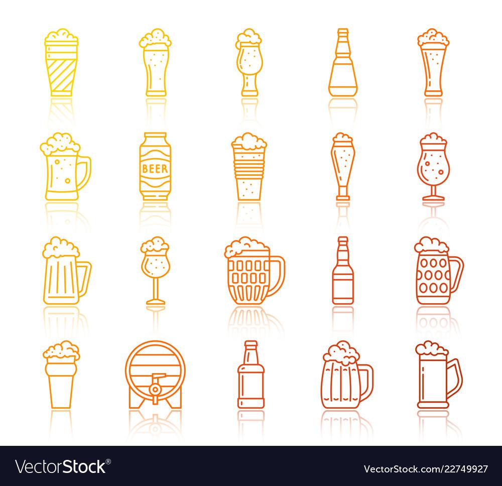 Beer oktoberfest simple line icons set