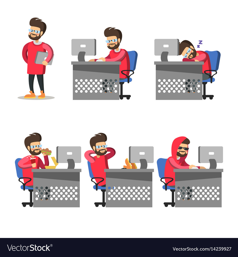 Cartoon programmer with computer freelancer vector image