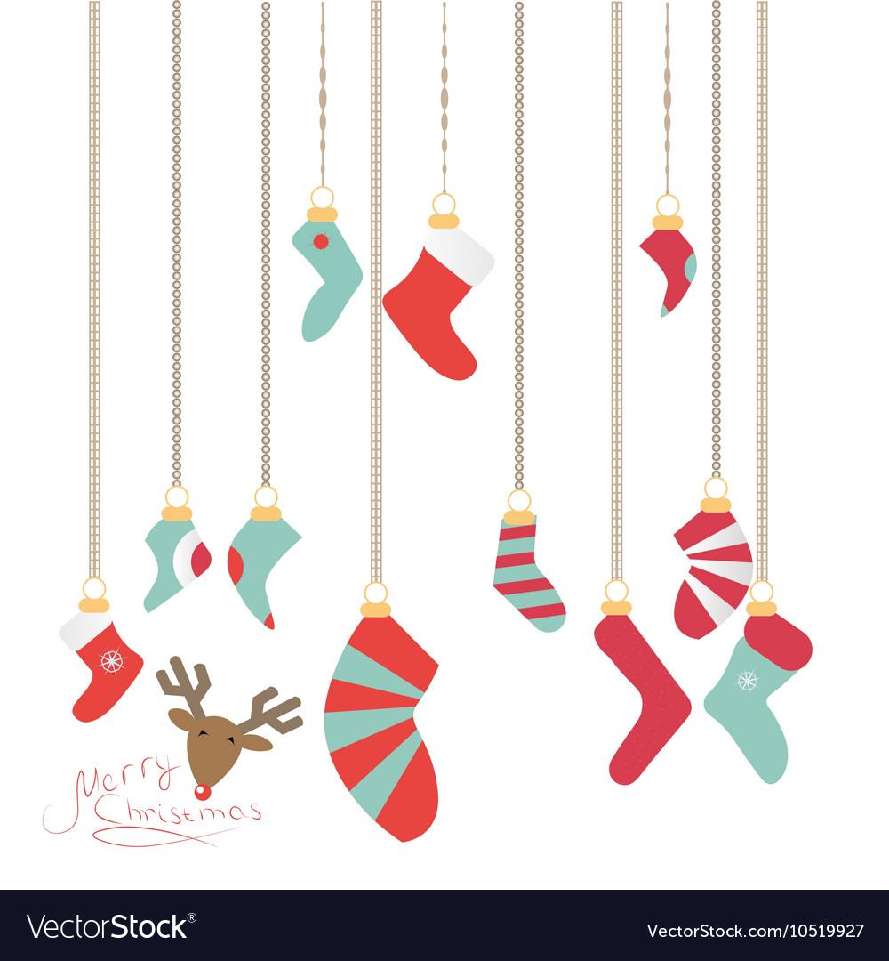 Christmas Socks Hanging On A Magic Thread New