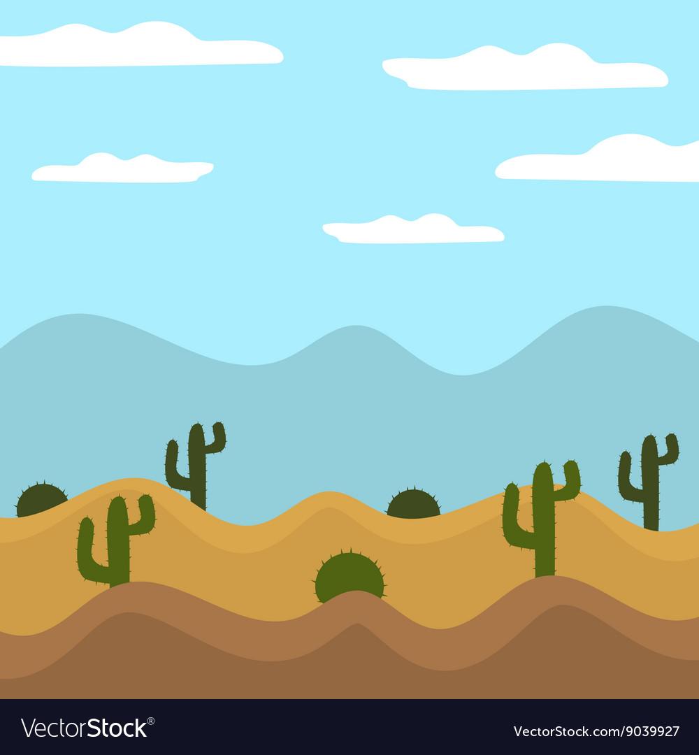 Game Background Cactus Desert Heat Journey Cartoon