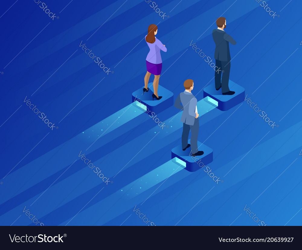 Isometric business leader and teamwork business