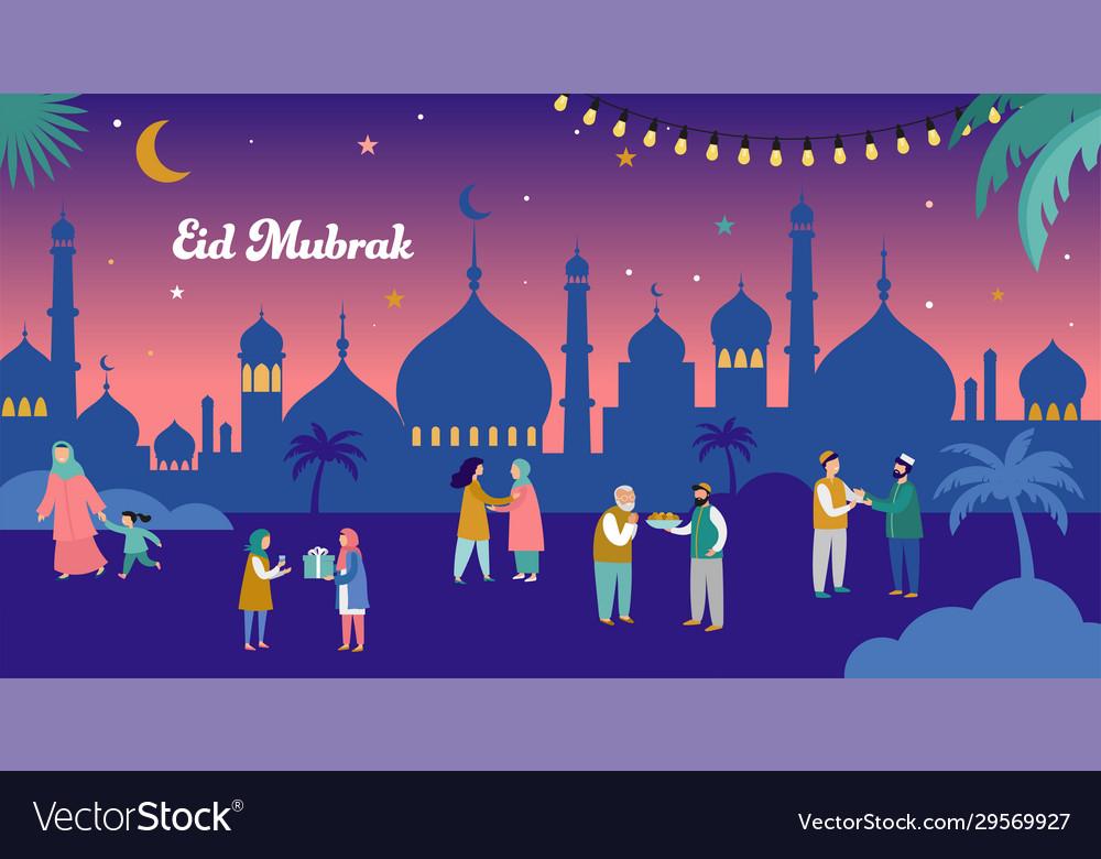 Ramadan Kareem Eid Mubarak Greeting Card And Vector Image