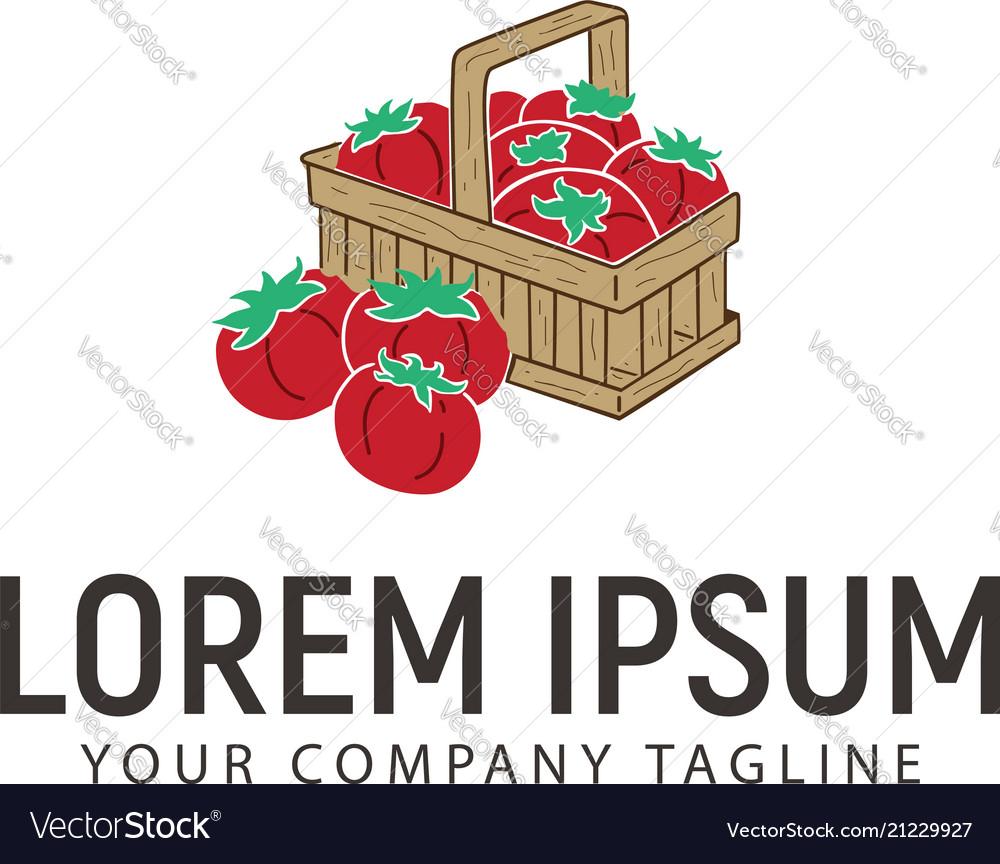 Tomato hand drawn logo design concept template