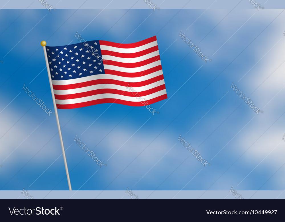 United States of America flag on blue sky