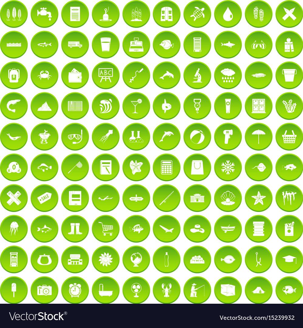 100 fish icons set green circle