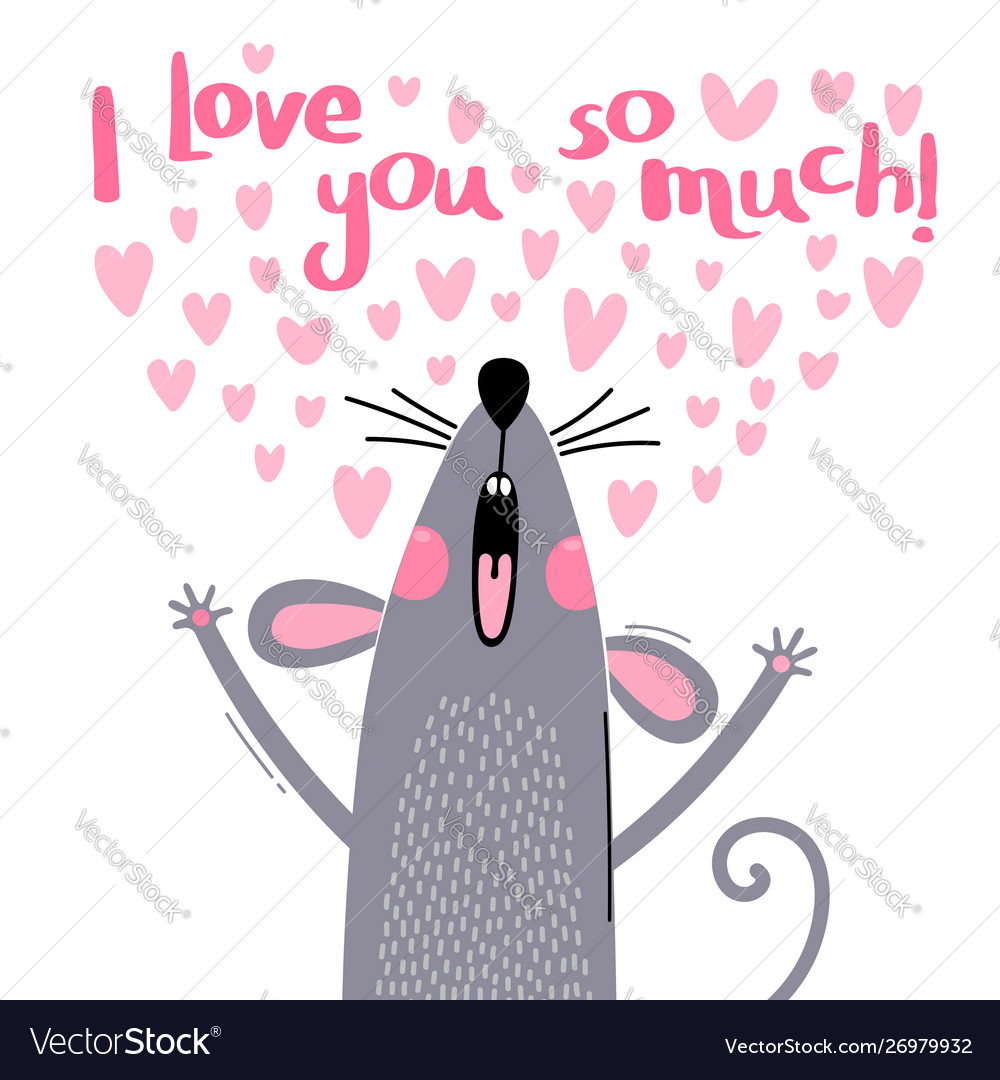 A cute little mouse confess vector