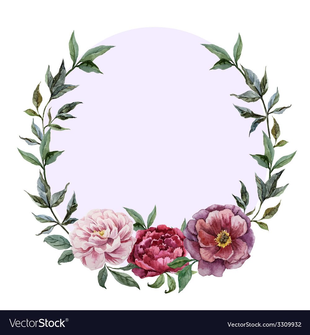 Beautiful watercolor frame with peonies on black vector image