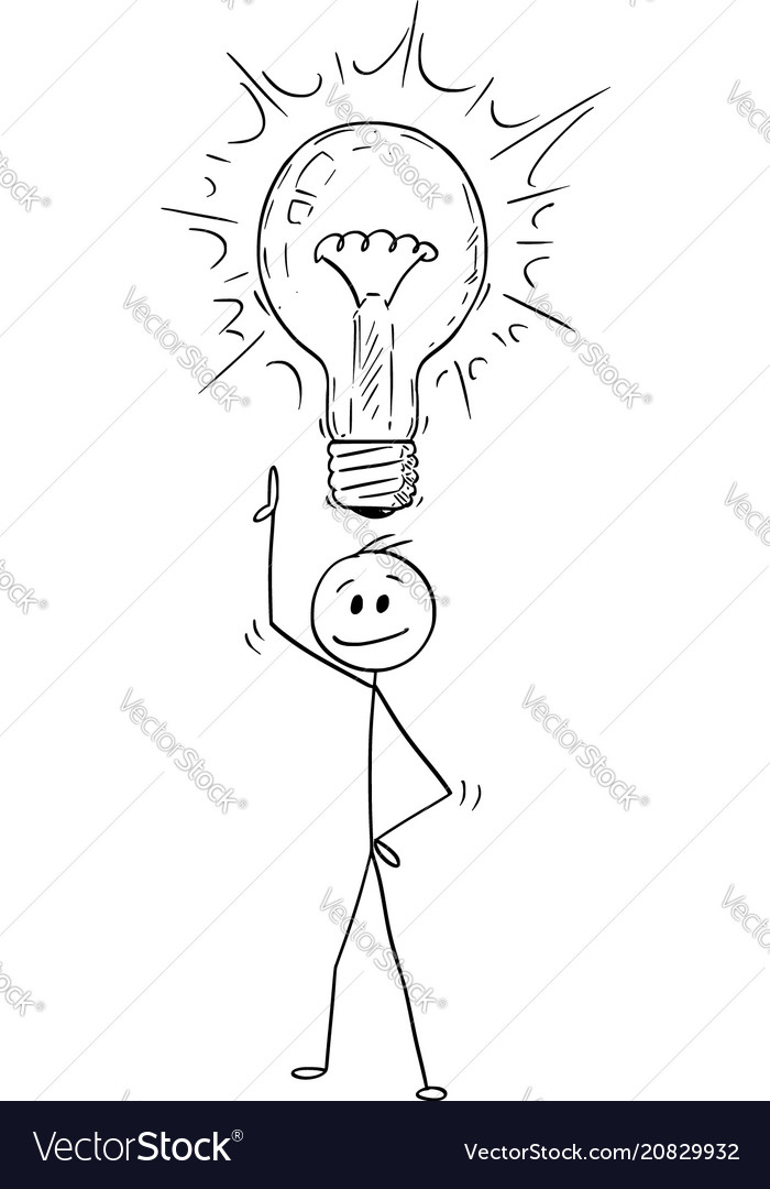 Cartoon of man or businessman with idea and