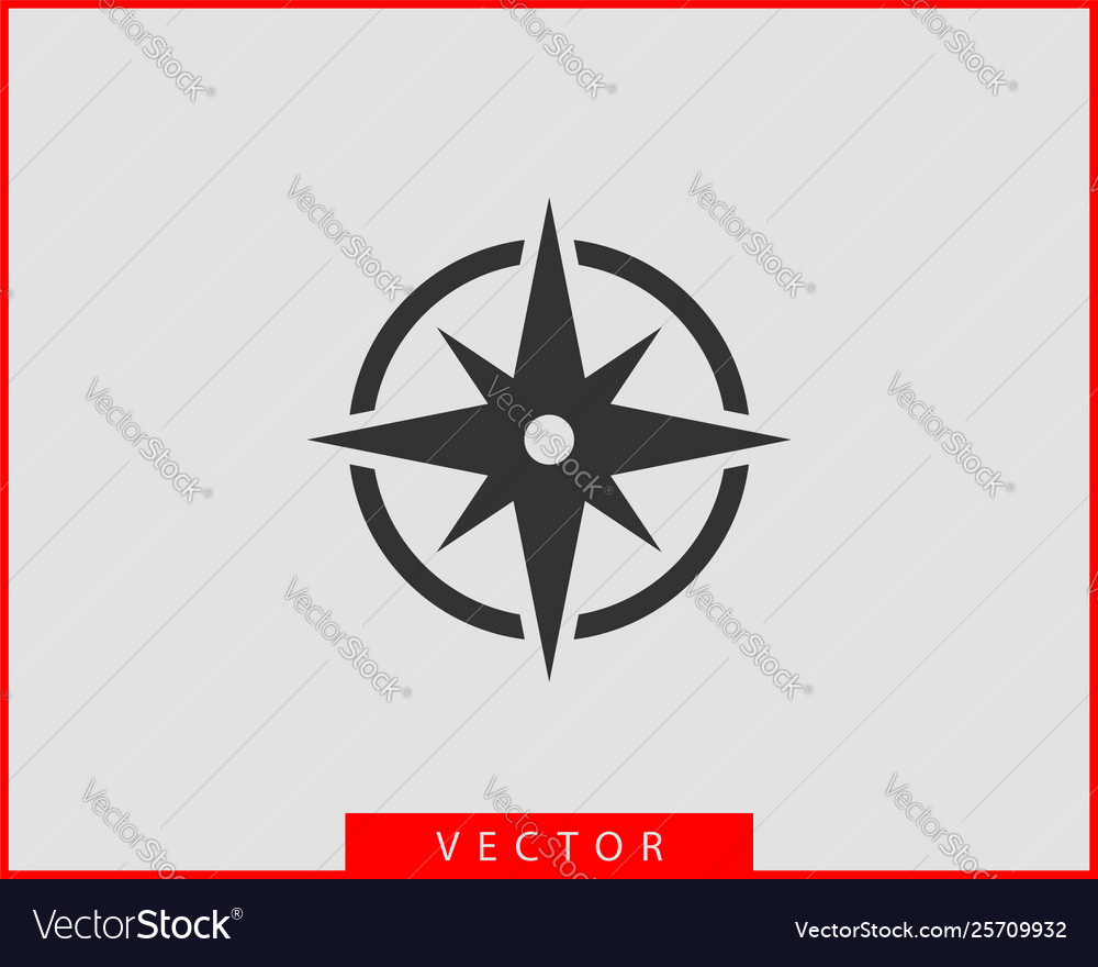 Compass icon wind rose star navigation