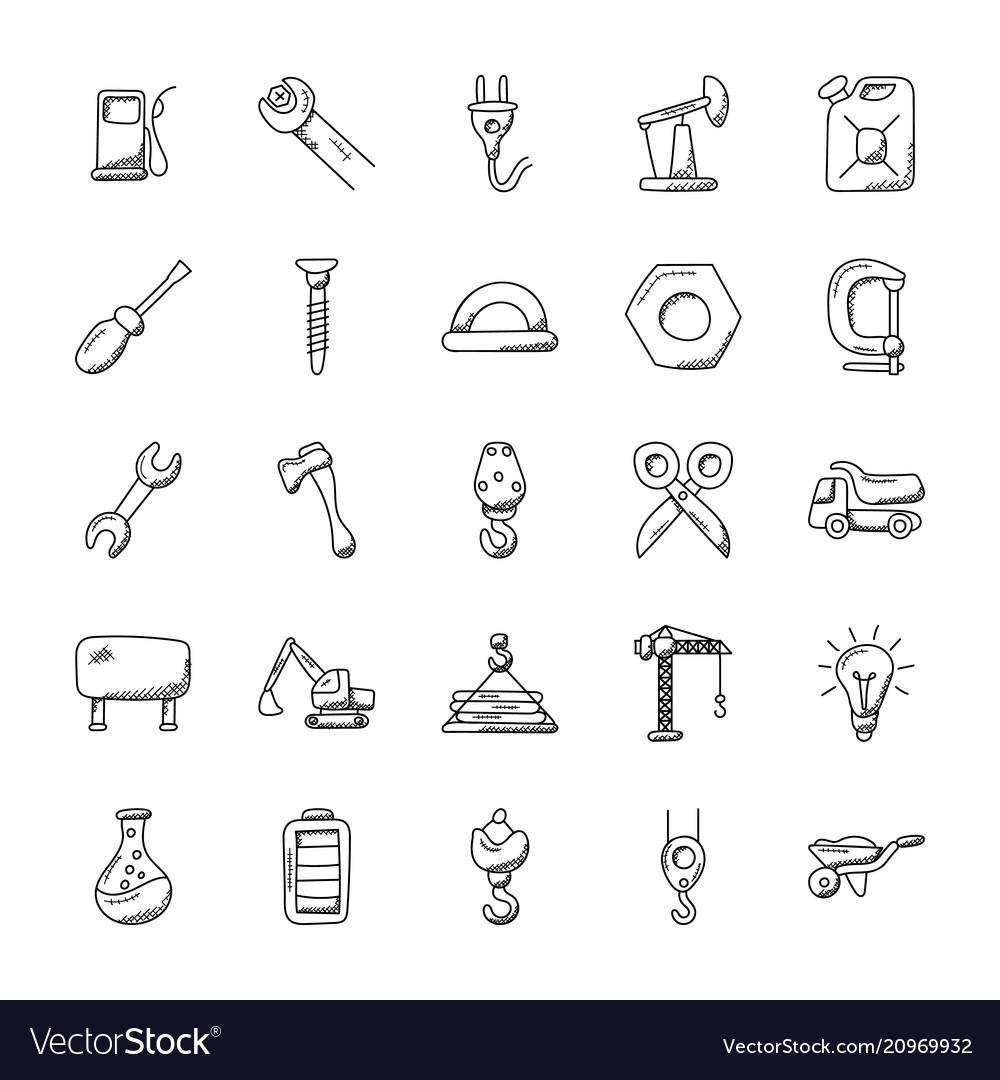 Construction doodles icons set