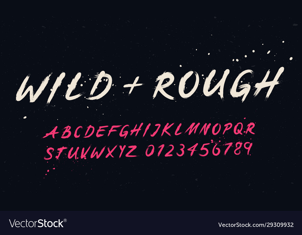 Hand drawn typography set brush painted font