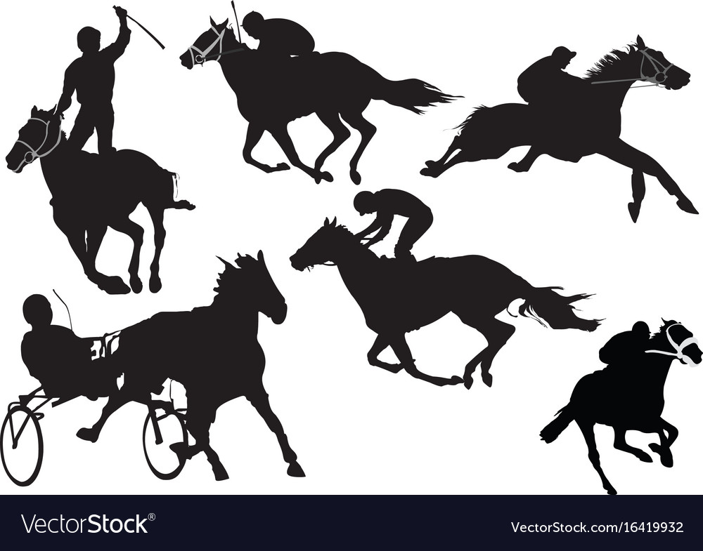 Horse racing silhouettes colored for designers