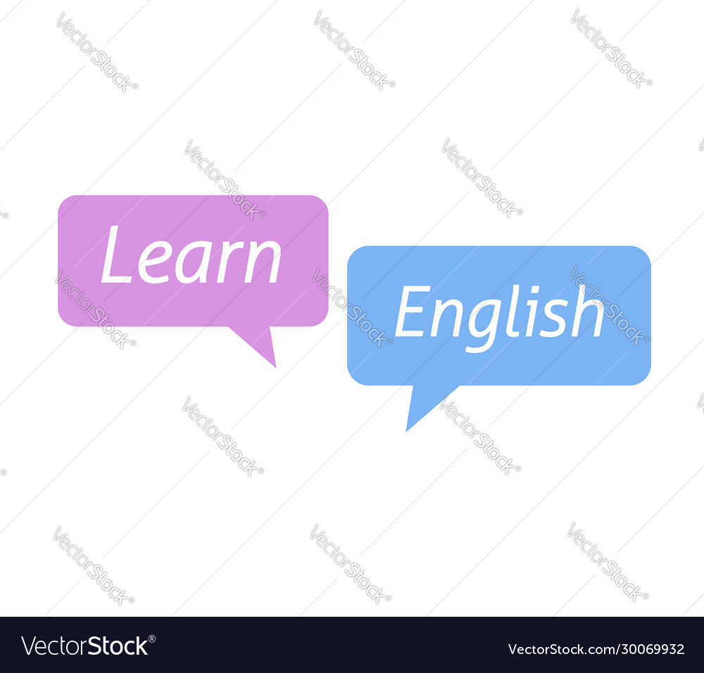 Learn english foreign language in bubble speeches