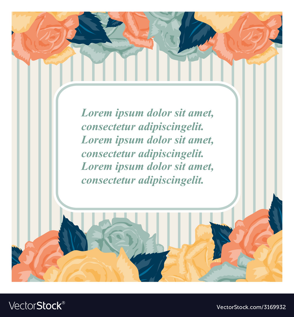 Retro Wedding invitation card with roses