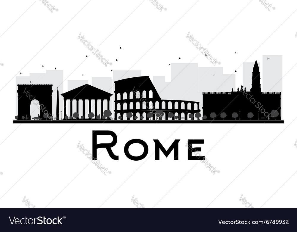 Rome City skyline black and white silhouette
