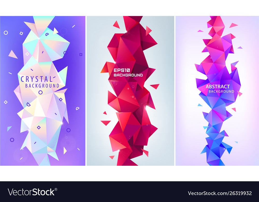 Set abstract geometric 3d facet shapes