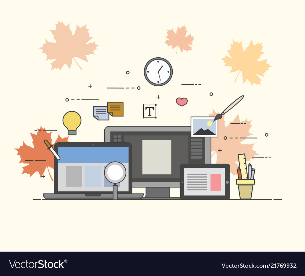 Web and mobile design and developing autumn fall