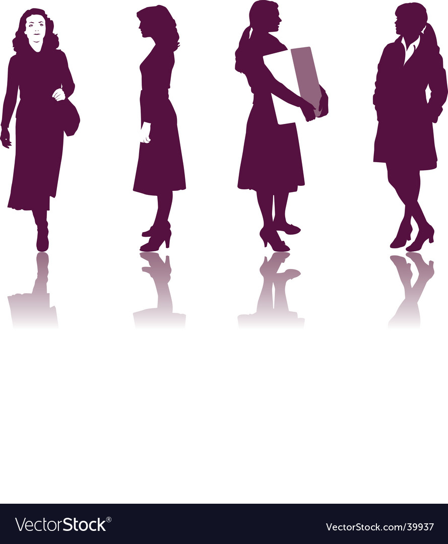 Business Women Silhouettes Royalty Free Vector Image