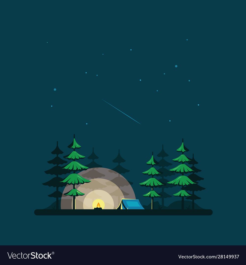 Camping tent in forest flat style design