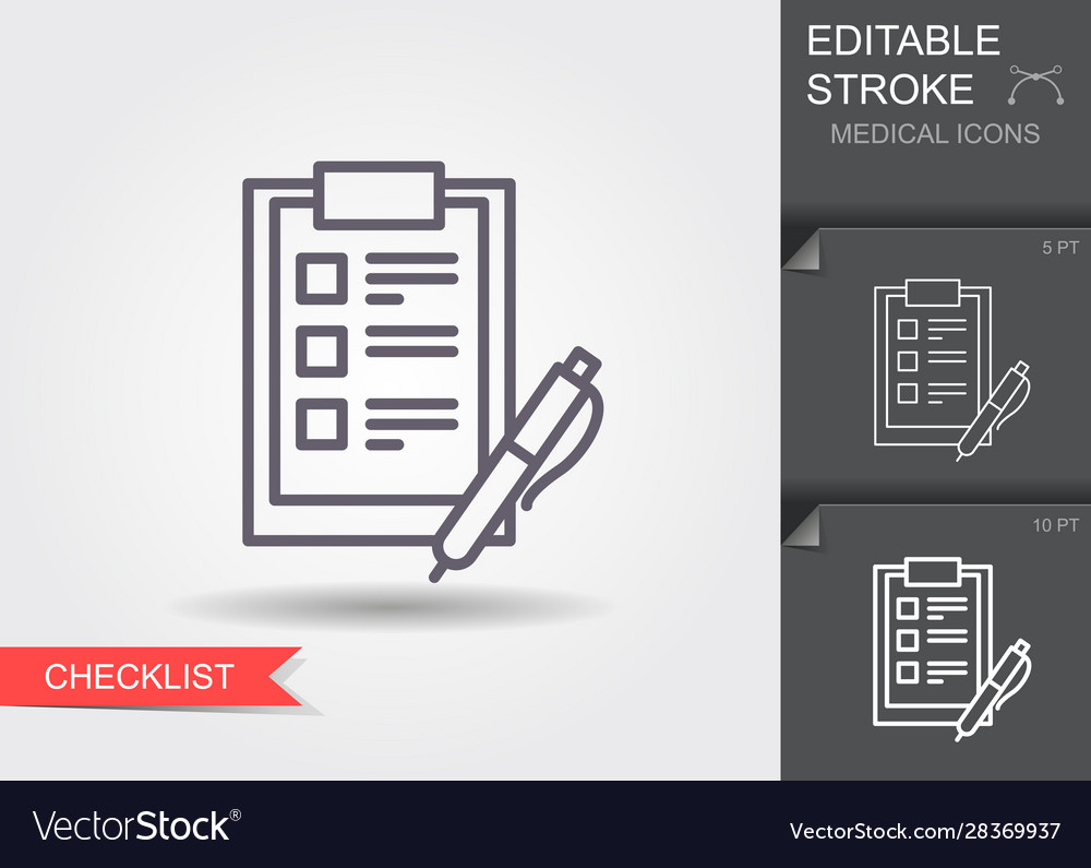 Checklist with a pen line icon with editable