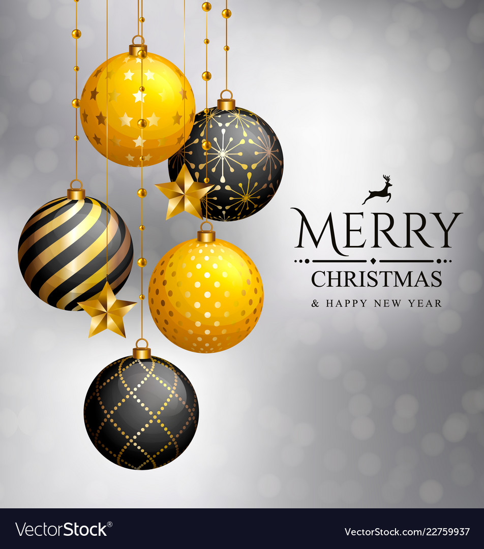 Christmas card xmas golden balls and stars