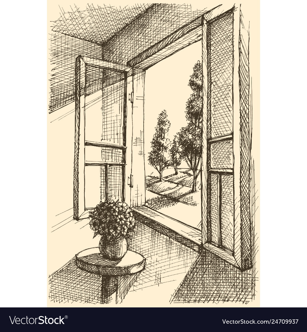 Garden view from window hand drawing