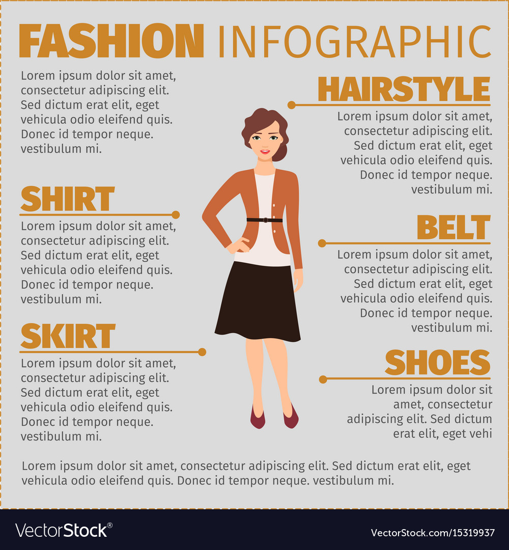 Girl in autumn suit fashion infographic vector image