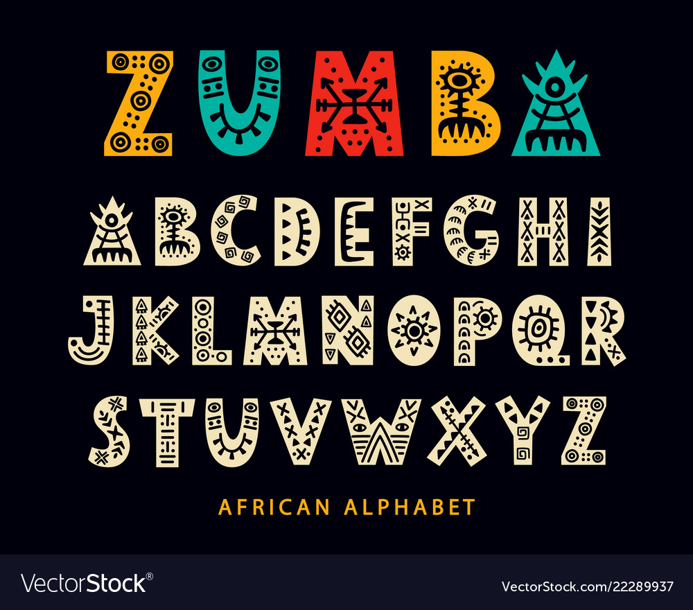 Hand drawn african tribal font
