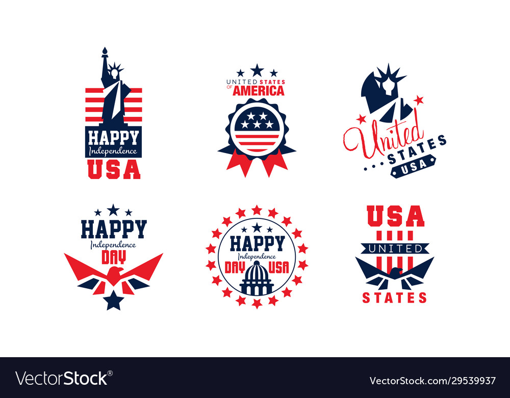 Happy independence day bright badges collection