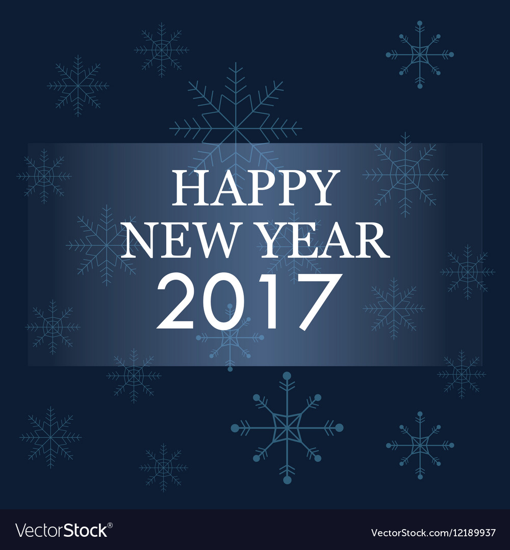 Happy new year 2017 greeting card blue background