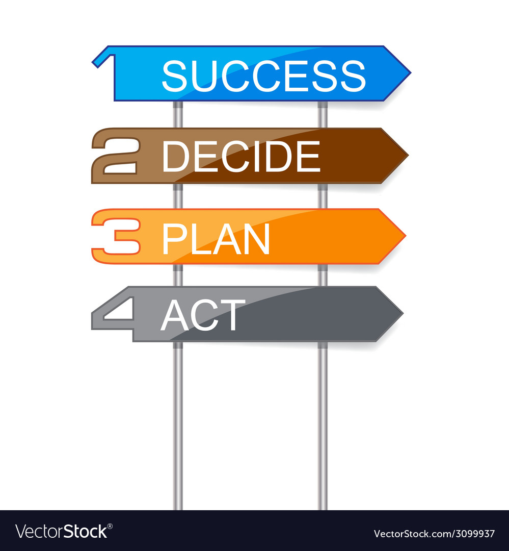 Indicator signs step for success