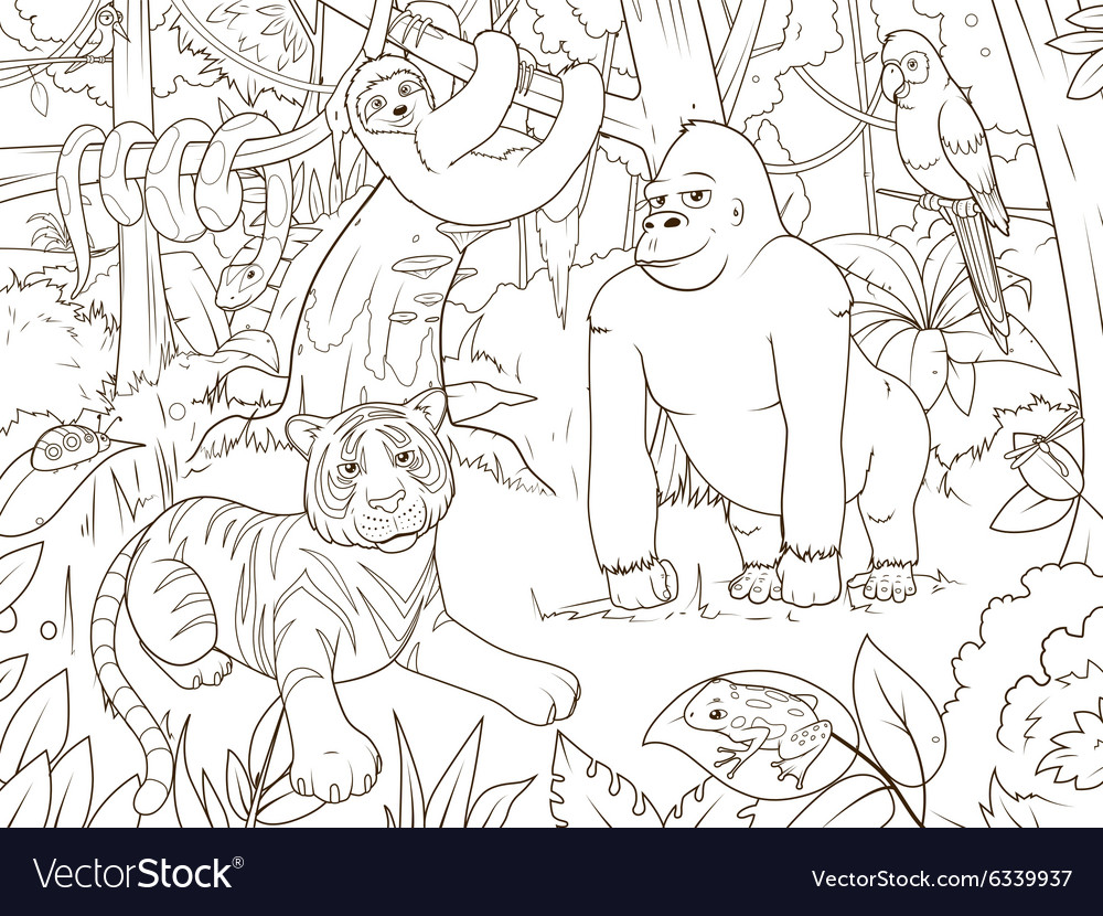Jungle animals cartoon coloring book
