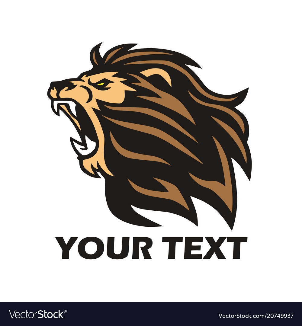 Lion roaring logo design template