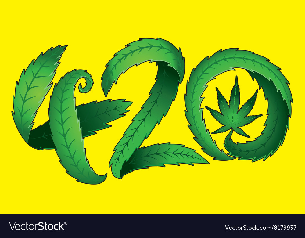 Marijuana Leaf Symbol And 420 Hemp Text Royalty Free Vector