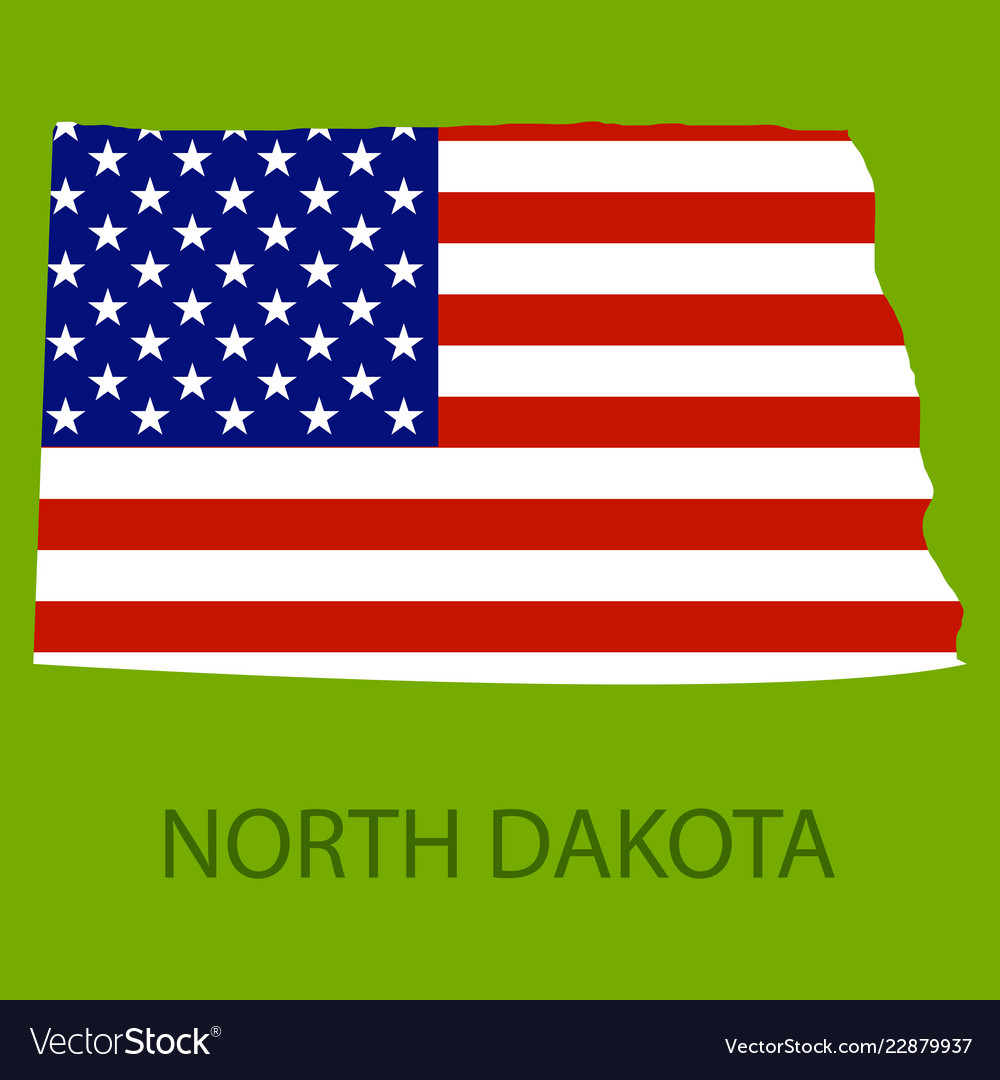 North dakota state of america with map flag print Vector Image
