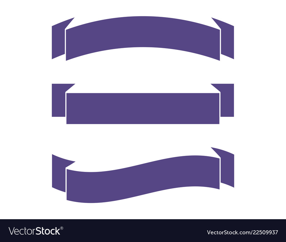 Ribbons in flat colors banners ribbons set of 3