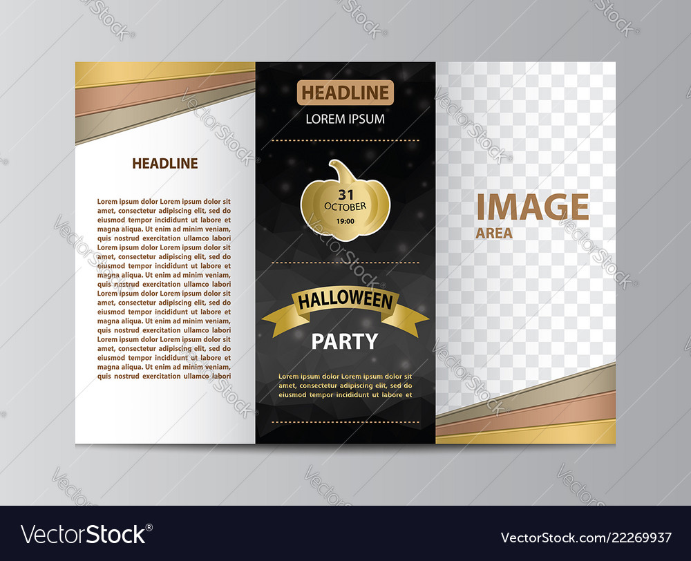 Tri Fold Brochure Template For Halloween Party Vector Image